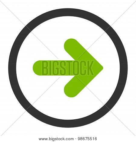 Arrow Right flat eco green and gray colors rounded vector icon