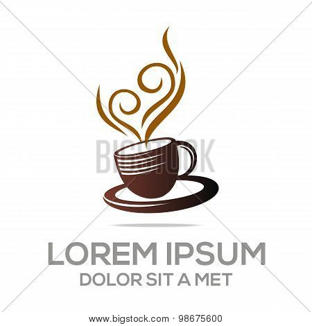 Logo sketch of coffee cup chocolate granule vector