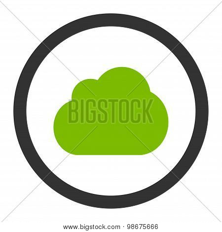 Cloud flat eco green and gray colors rounded vector icon
