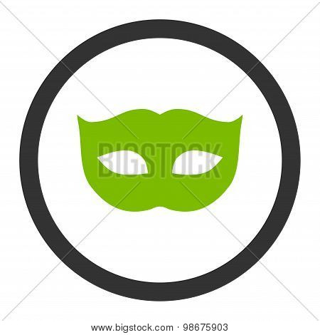 Privacy Mask flat eco green and gray colors rounded vector icon
