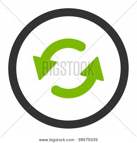 Refresh Ccw flat eco green and gray colors rounded vector icon
