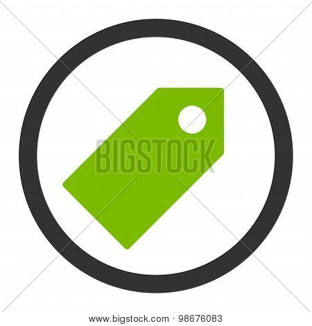 Tag flat eco green and gray colors rounded vector icon