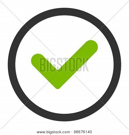 Yes flat eco green and gray colors rounded vector icon