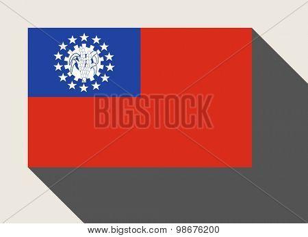 Myanmar in flat web design style.