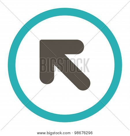 Arrow Up Left flat grey and cyan colors rounded vector icon