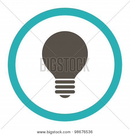 Electric Bulb flat grey and cyan colors rounded vector icon