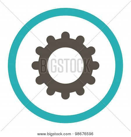 Gear flat grey and cyan colors rounded vector icon