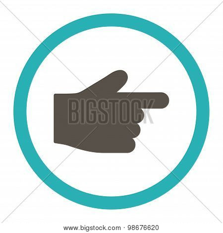 Index Finger flat grey and cyan colors rounded vector icon