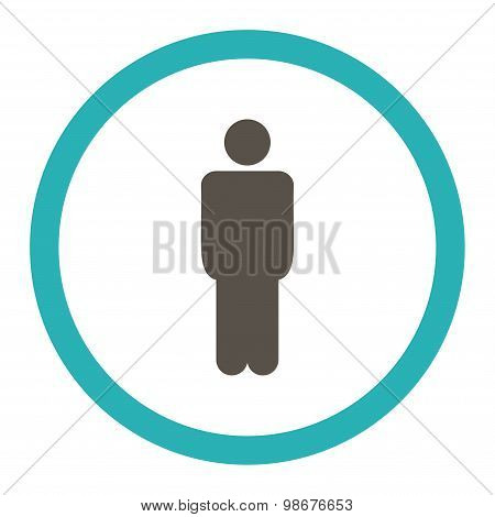 Man flat grey and cyan colors rounded vector icon