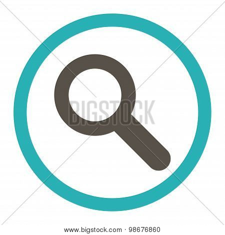 Search flat grey and cyan colors rounded vector icon