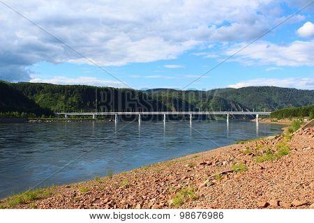 The bridge across the river Yenisei near Krasnoyarsk HPP