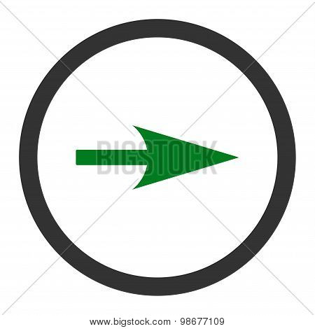 Arrow Axis X flat green and gray colors rounded vector icon