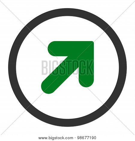 Arrow Up Right flat green and gray colors rounded vector icon