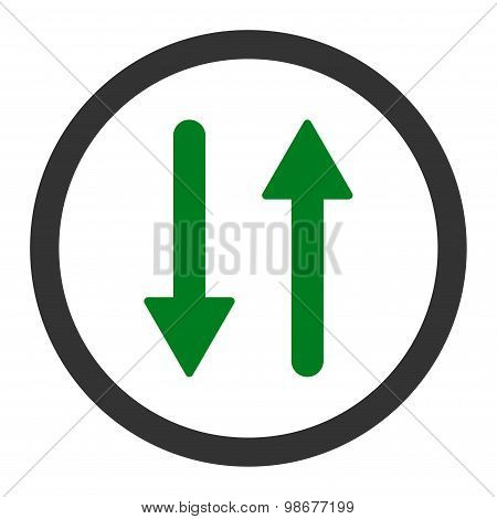 Arrows Exchange Vertical flat green and gray colors rounded vector icon