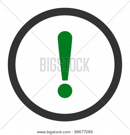 Exclamation Sign flat green and gray colors rounded vector icon