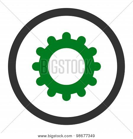 Gear flat green and gray colors rounded vector icon