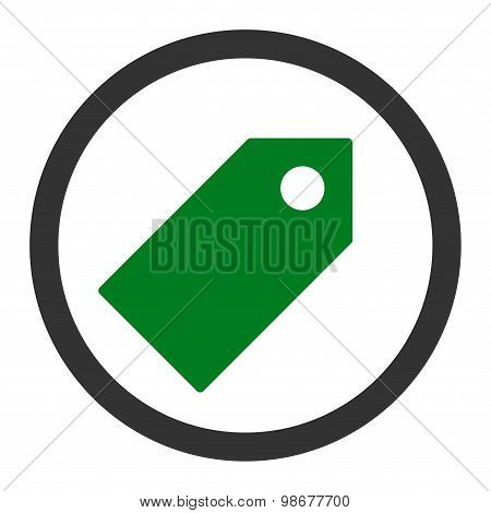 Tag flat green and gray colors rounded vector icon