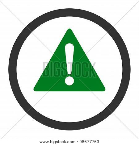 Warning flat green and gray colors rounded vector icon
