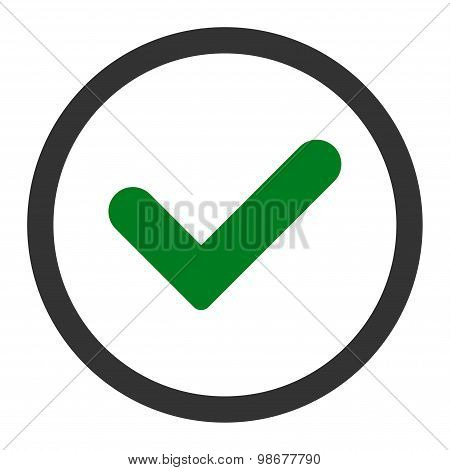 Yes flat green and gray colors rounded vector icon