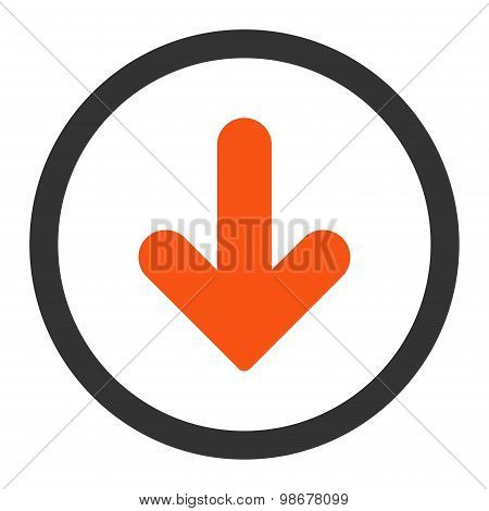 Arrow Down flat orange and gray colors rounded vector icon