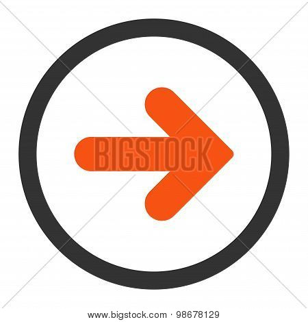 Arrow Right flat orange and gray colors rounded vector icon