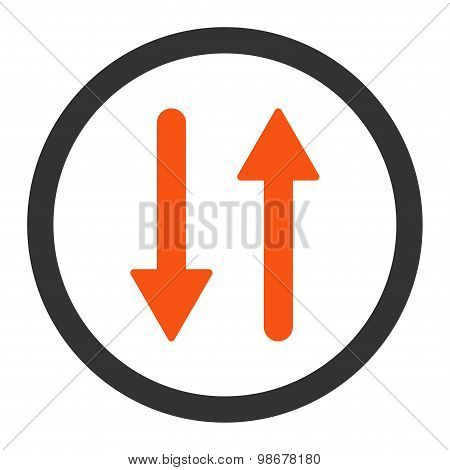Arrows Exchange Vertical flat orange and gray colors rounded vector icon
