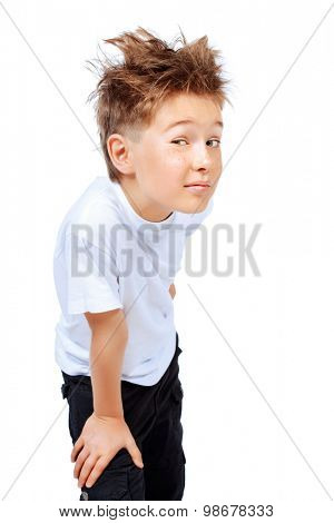 Portrait of a cute curious boy looking at camera. Isolated over white background.