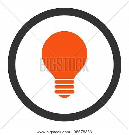 Electric Bulb flat orange and gray colors rounded vector icon
