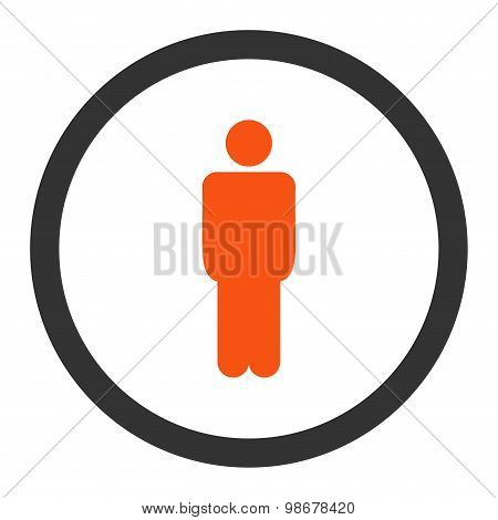 Man flat orange and gray colors rounded vector icon