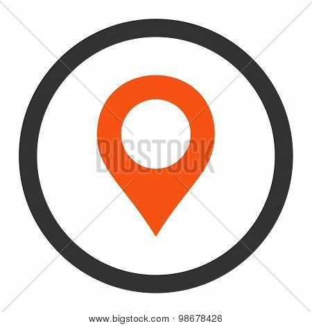 Map Marker flat orange and gray colors rounded vector icon