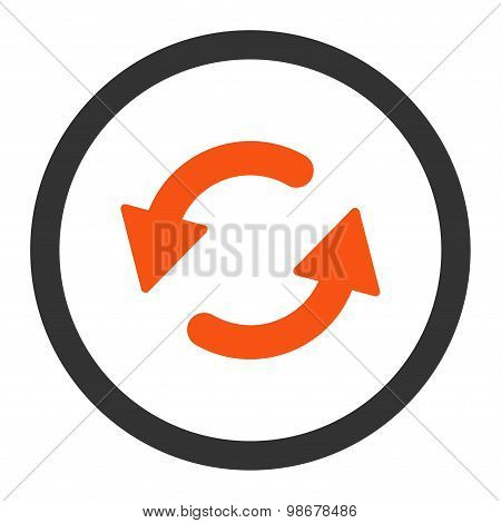 Refresh Ccw flat orange and gray colors rounded vector icon