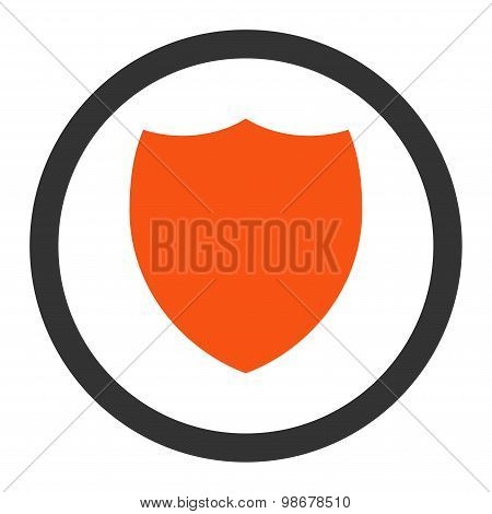 Shield flat orange and gray colors rounded vector icon