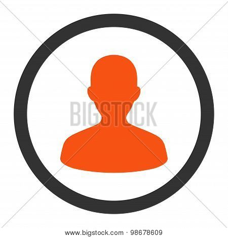 User flat orange and gray colors rounded vector icon