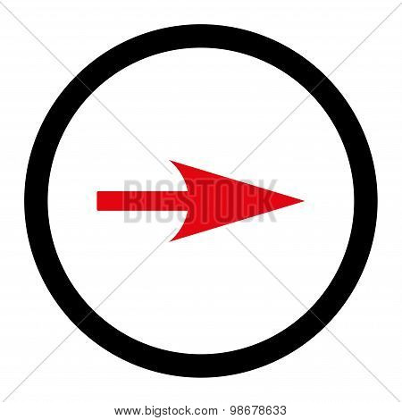 Arrow Axis X flat intensive red and black colors rounded vector icon