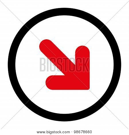 Arrow Down Right flat intensive red and black colors rounded vector icon