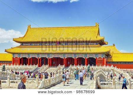 Beiging, China- May, 18, 2015: Palaces, Pagodas Inside The Area Of The Forbidden City Museum In Beij