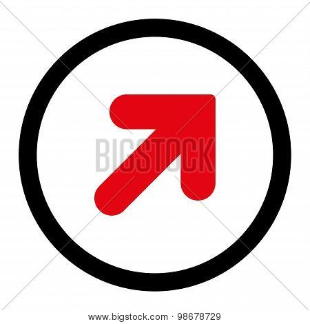 Arrow Up Right flat intensive red and black colors rounded vector icon