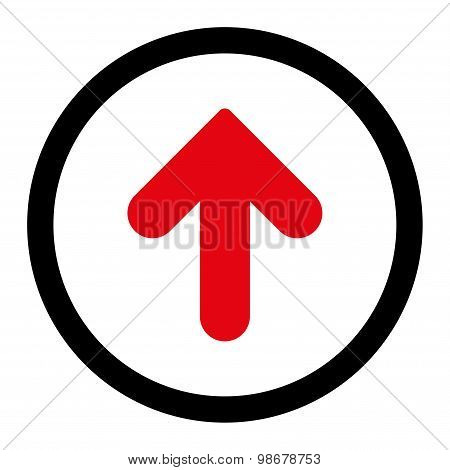 Arrow Up flat intensive red and black colors rounded vector icon