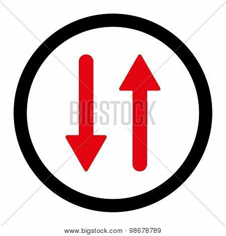 Arrows Exchange Vertical flat intensive red and black colors rounded vector icon