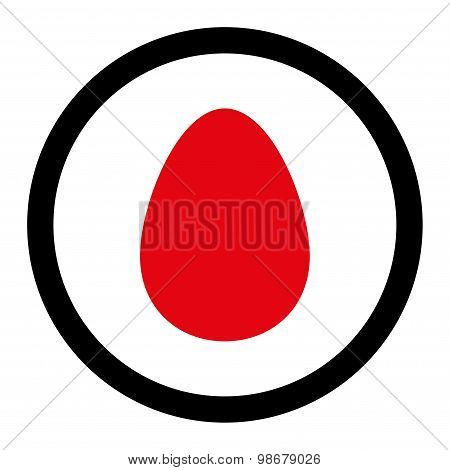 Egg flat intensive red and black colors rounded vector icon