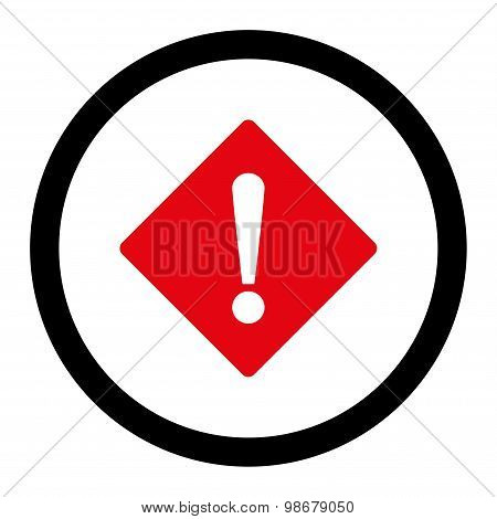 Error flat intensive red and black colors rounded vector icon