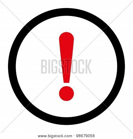 Exclamation Sign flat intensive red and black colors rounded vector icon