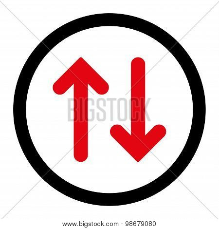 Flip flat intensive red and black colors rounded vector icon