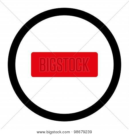 Minus flat intensive red and black colors rounded vector icon