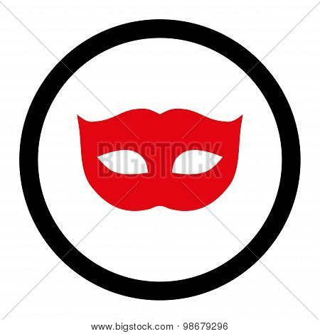 Privacy Mask flat intensive red and black colors rounded vector icon