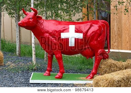 Red Swiss Cow Statue