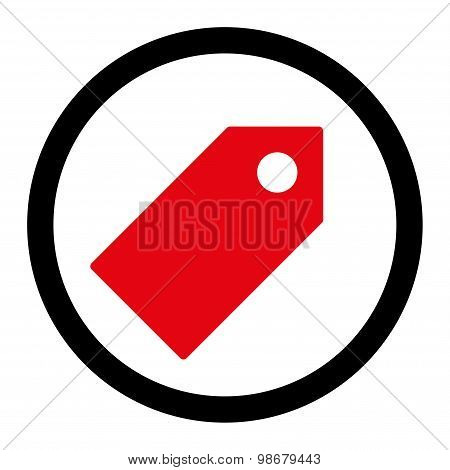 Tag flat intensive red and black colors rounded vector icon