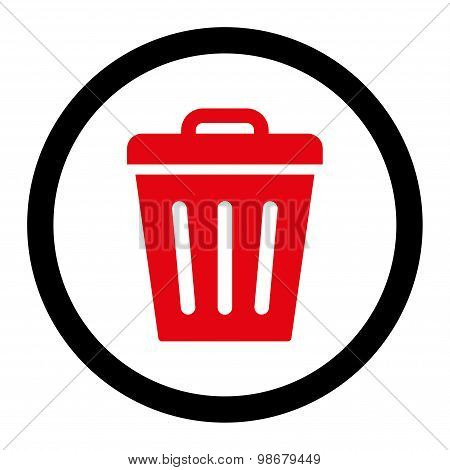Trash Can flat intensive red and black colors rounded vector icon