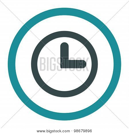 Clock flat soft blue colors rounded vector icon