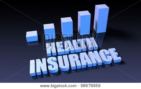 Health insurance graph chart in 3d on blue and black